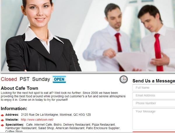 Site web unilingue anglais Café Town